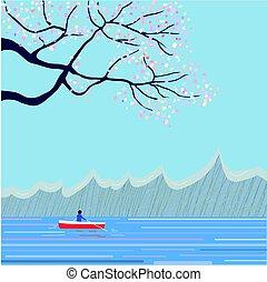 japoneses, paisagem, sakura