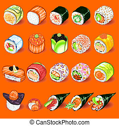 japoneses, sushi, cobrança, jogo
