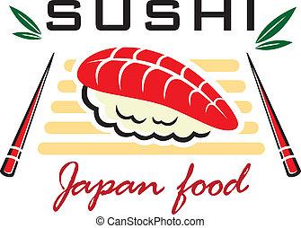 japoneses, sushi, marisco, emblema