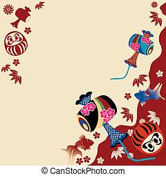 japoneses, tradicional, cartão