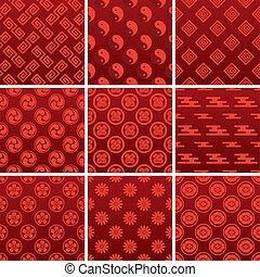 japoneses, tradicional, vermelho, padrão