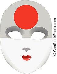 japonia, abstrakcyjny, maska, bandera, twarz
