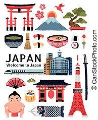 japonia, kulturalny, śliczny, komplet, symbol