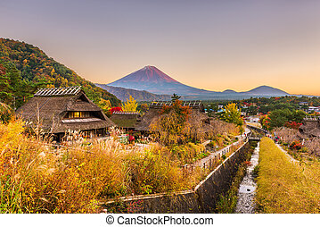 japonia, mt., wieś, historyczny, fuji