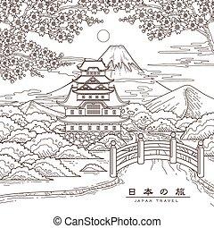 japonia, podróż, pociągający, afisz