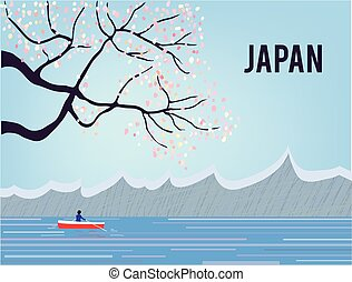 japonia, sakura, krajobraz, woda