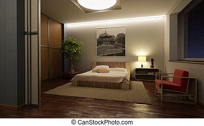 japonia, styl, sypialnia, wewnętrzny