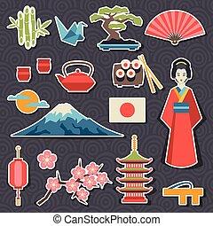 japonsko, ikona, a, symbol, set.