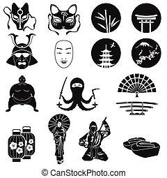 japonsko, ikona, vektor, set., japonština, námět, symbol