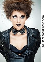 jaquette cuir, modèle, mode, noir