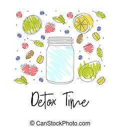 Jar and contours of fruits and berries. Vector illustration.