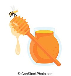 jar and honey dipper stick and bee, on white background