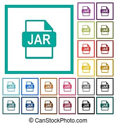 JAR file format flat color icons with quadrant frames