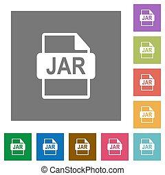 JAR file format square flat icons