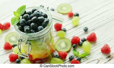 Jar filled with fresh berries - Closeup shot of glass jar...