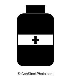 Jar for drug the black color icon .