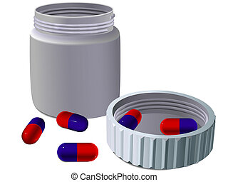 Jar for medicines with tablets and a turned cover in a ...