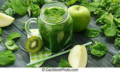 Jar glass with green smoothie