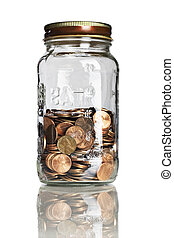 jar half full of pennies