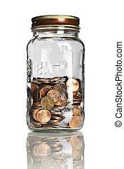 jar half full of pennies
