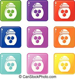 Jar honey icons set 9 color collection
