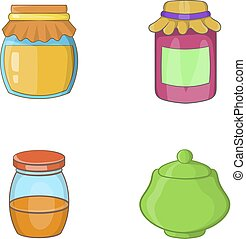 Jar icon set, cartoon style