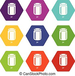 Jar icons set 9 vector