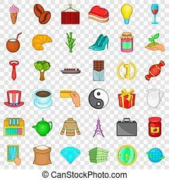 Jar icons set, cartoon style