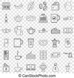 Jar icons set, outline style
