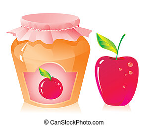 Jar of apple jam and fresh apple