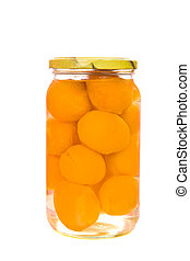 Apricot preserves - Jar of Apricot preserves isolated on...