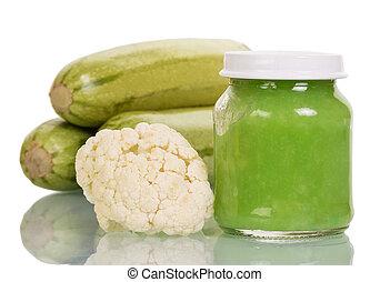 jar of baby food cauliflower and zucchini isolated on white...