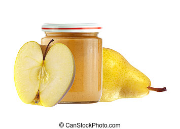 Jar of baby puree, fresh apple and pear isolated on white