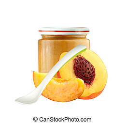 Jar of baby puree, spoon and peach slice isolated on white