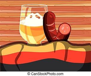 jar of beer with sausages oktoberfest festival