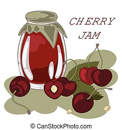 Jar of cherry jam, sour cherries, vector illustration