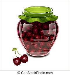 Jar of cherry jam