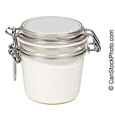 jar of cream with a steel lock