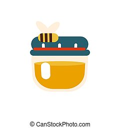 Jar of delicious honey with a bee flying nearby on white background. Honey in the glass bottle. Vector Illustration.