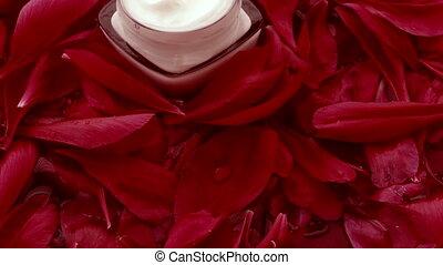 Jar of face cream moisturizer and flower petals, luxury skincare and organic cosmetics