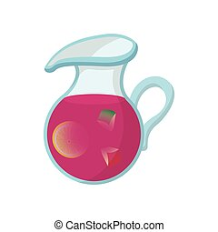 Jar of fresh sangria icon, cartoon style