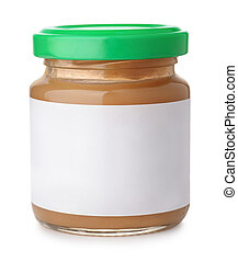 Jar of fruit puree with blank label