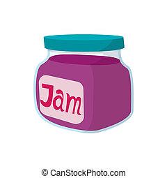 Jar of fruity jam icon, cartoon style - Jar of fruity jam...