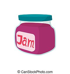 Jar of fruity jam icon, cartoon style