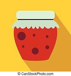 Jar of fruity jam icon, flat style - Jar of fruity jam icon...