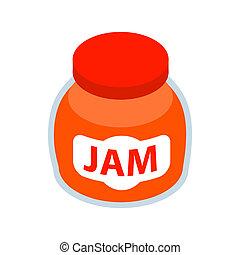 Jar of fruity jam icon, isometric 3d style - Jar of fruity...