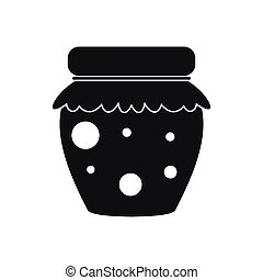 Jar of fruity jam icon, simple style - Jar of fruity jam...