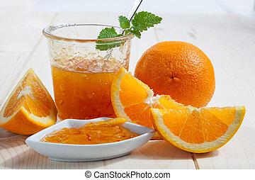 orange marmalade - Jar of home made orange marmalade with ...