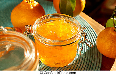 jar of homemade orange jam with wide aspect ratio