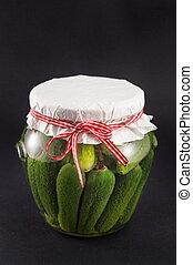Jar of homemade pickles for winter